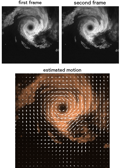 Example of image-based fluid motion estimation